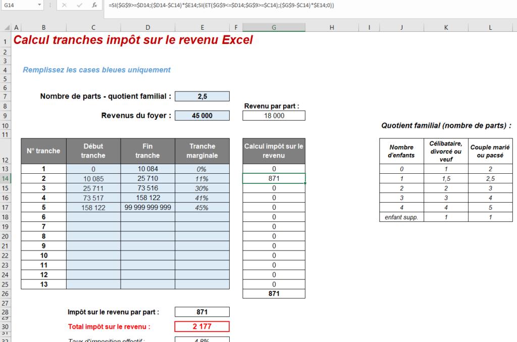 formule excel calcul impot revenu exemple