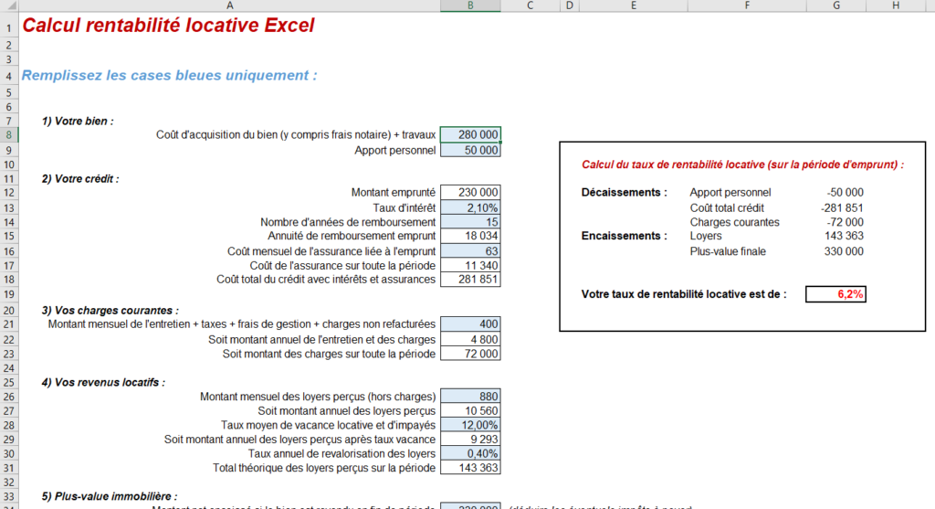 calcul rentabilité locative excel
