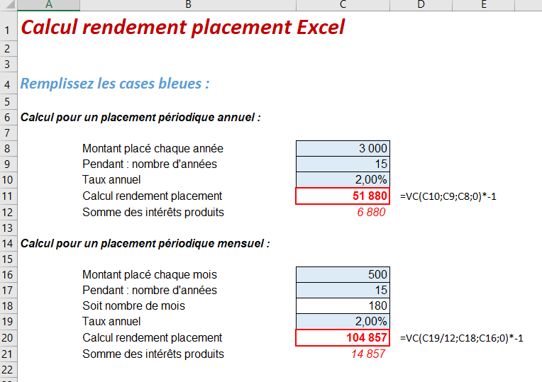 calcul rendement placement excel exemple