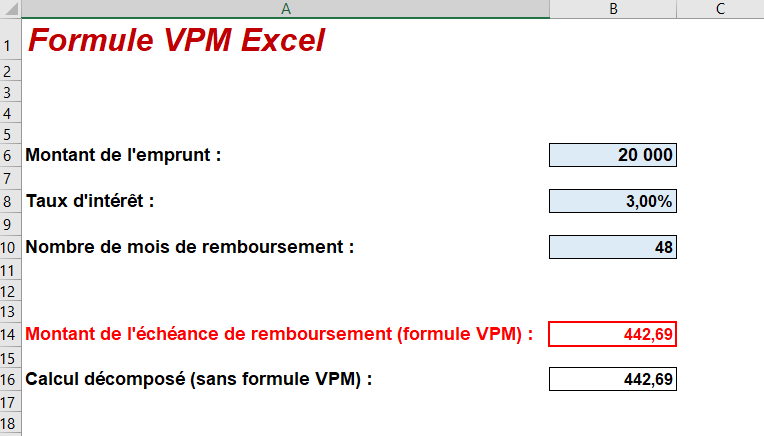 formule VPM excel explication signification exemple