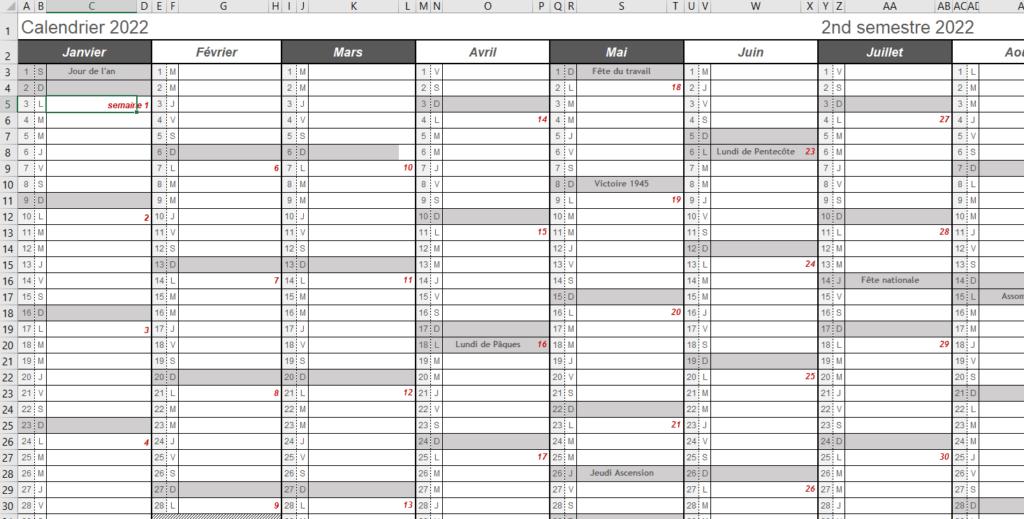 calendrier 2022 excel à imprimer jours fériés vacances scolaires